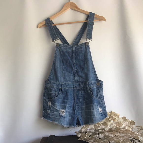 Blank NYC Medium Washed Distressed Overall Shorts